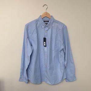 New Blue Banana Republic Untucked Standard-Fit Cotton Oxford Shirt